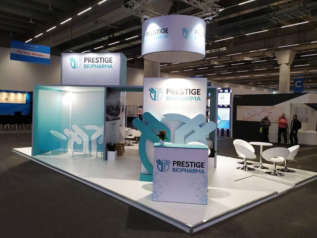 prestige biopharma tradeshow booth construction 54sqm cphi worldwide frankfurt germany 2019